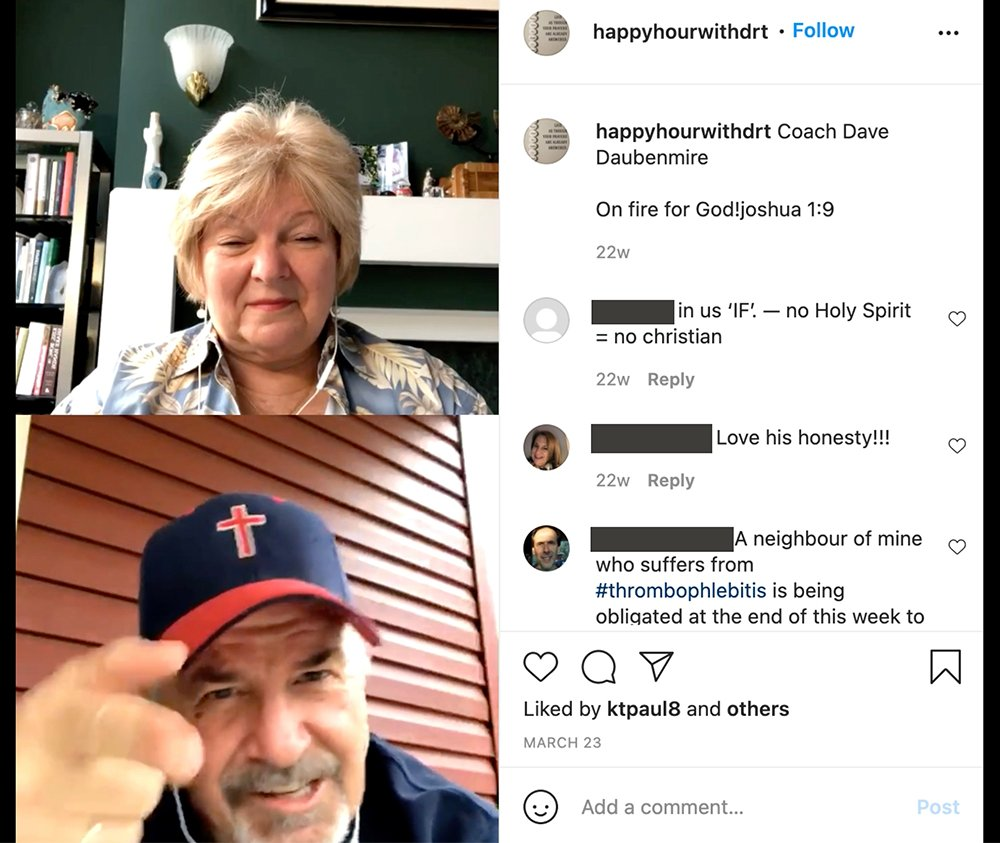 """""""Coach"""" Dave Daubenmire, bottom, appears on Dr. Sherri Tenpenny's Instagram live program """"Happy Hour with Dr. T."""" Names redacted by RNS. Video screengrab"""