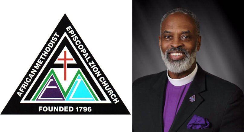 Former AME Zion Church Bishop Staccato Powell, right, and the denomination's logo. Courtesy images