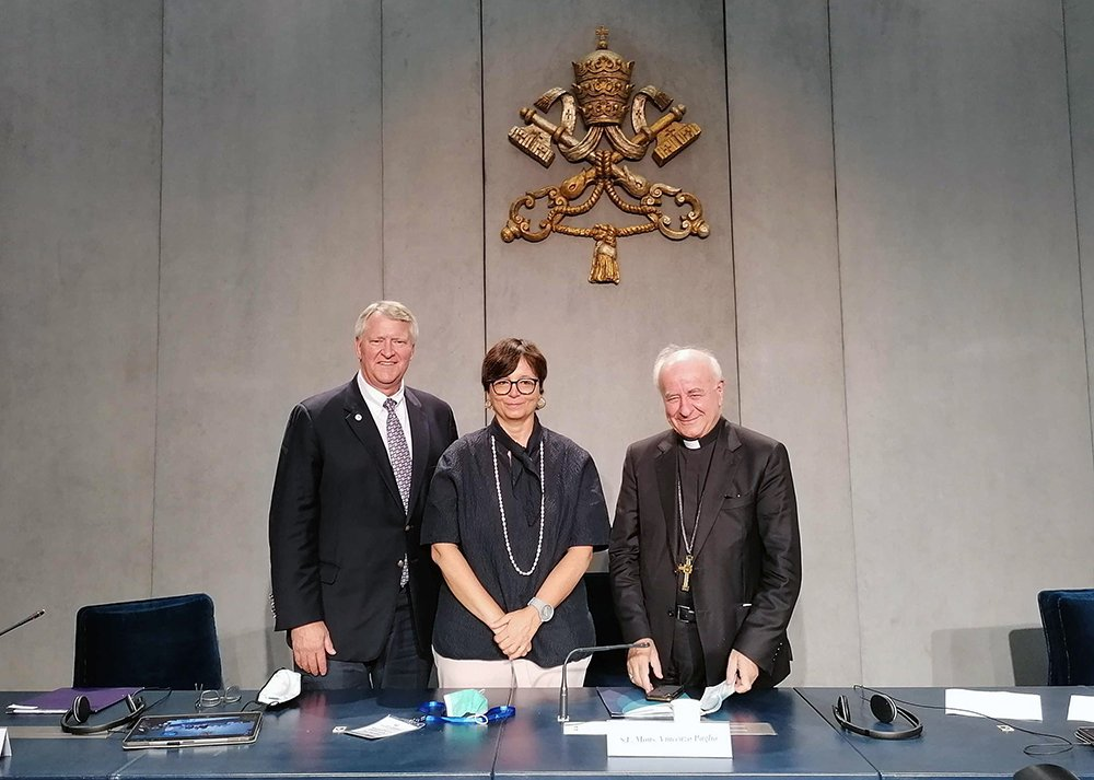 Dr. David Barbe, from left, Professor Maria Chiara Carrozza and Archbishop Vincenzo Paglia discussed Covid-19 immunization ethics Tuesday, Sept. 28, 2021, at the Vatican. RNS photo by Claire Giangravè