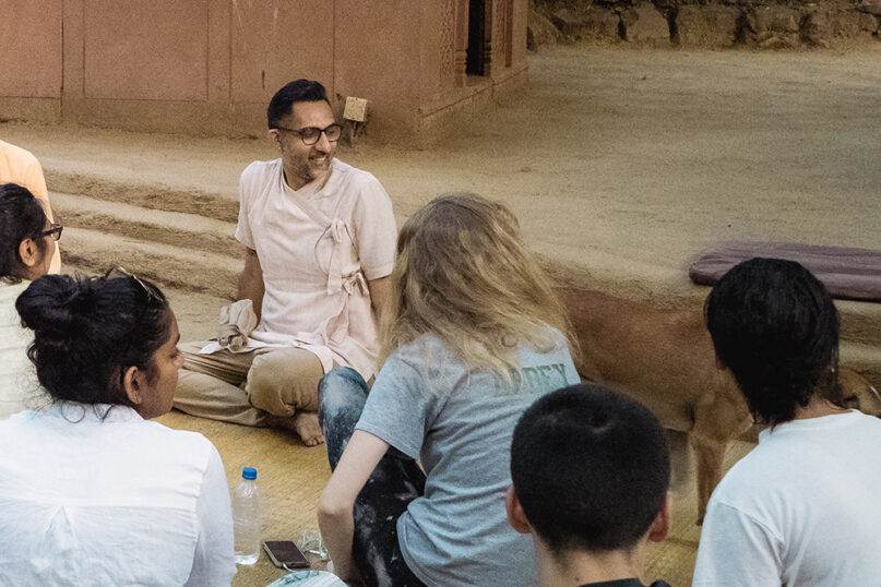 Vineet Chander sits and talks with a group of students he brought on a learning trip to India. Chander is Assistant Dean in charge of the Hindu Life Program at Princeton University. Photo courtesy of Chander