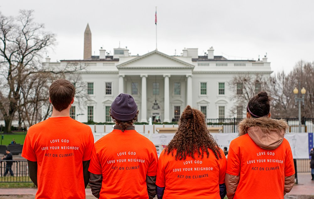 Members of the Youth Evangelicals for Climate Action stand together in front of the White House. Courtesy photo by Luke Overstreet