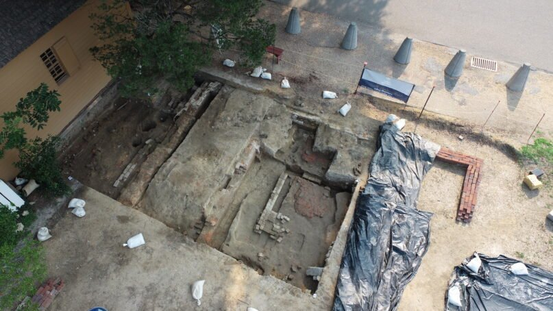 Archaeologists at Colonial Williamsburg have uncovered the foundation of the original First Baptist Church, founded about 1818. Photo courtesy of Colonial Williamsburg Foundation