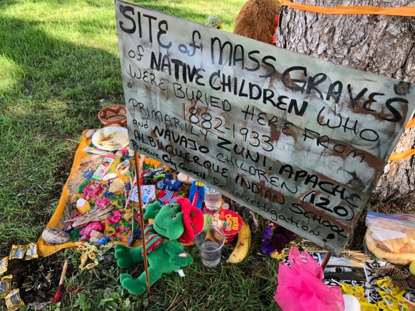 A makeshift memorial for the  Indigenous children who died more than a century ago while attending a boarding school, in Albuquerque, New Mexico. (AP Photo/Susan Montoya Bryan, File)