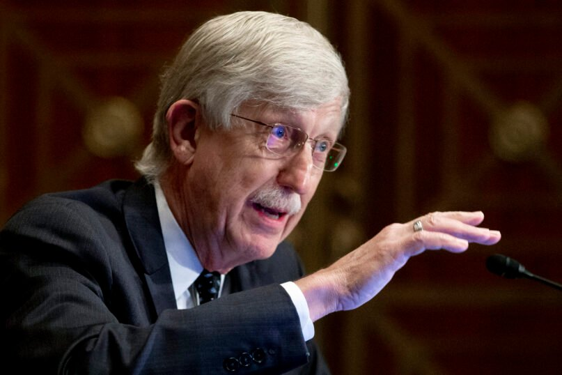 Dr. Francis Collins, director of the National Institutes of Health, appears before a Senate Health, Education, Labor and Pensions Committee hearing to discuss vaccines and protecting public health during the coronavirus pandemic on Capitol Hill, on Sept. 9, 2020, in Washington. Collins says he is stepping down by the end of the year, having led the research center for 12 years and becoming a prominent source of public information during the coronavirus pandemic. A formal announcement was expected Oct. 5, 2021, from NIH. (Michael Reynolds/Pool via AP, File)