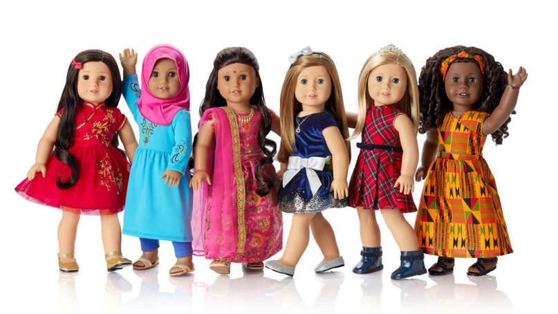 The American Girl Cultural Celebration Collection features doll outfits and accessories for Lunar New Year, from left, Eid al-Fitr, Diwali, Hanukkah, Christmas and Kwanzaa. Photo courtesy of Mattel