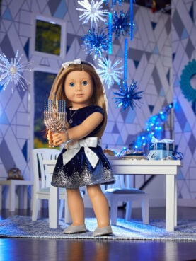 Hanukkah doll outfit and accessories from the American Girl Cultural Celebration Collection.  Photo courtesy of Mattel
