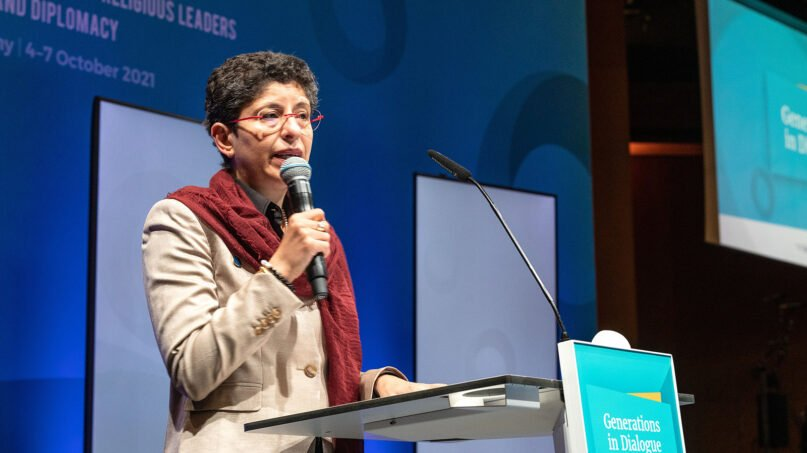 Religions for Peace Secretary-General Azza Karam speaks during the opening banquet of the Religions for Peace Conference of the World Council of Religious Leaders on Faith and Diplomacy, Oct. 4, 2021, in Lindau, Germany. Photo courtesy of Religions for Peace