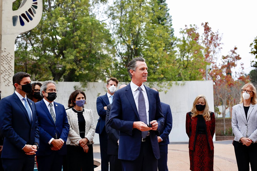 California Gov. Gavin Newsom speaks outside the Museum of Tolerance, Wednesday, Oct. 6, 2021, in Los Angeles, anouncing the Governor's Council on Holocaust and Genocide Education. Photo via Twitter/@CAgovernor