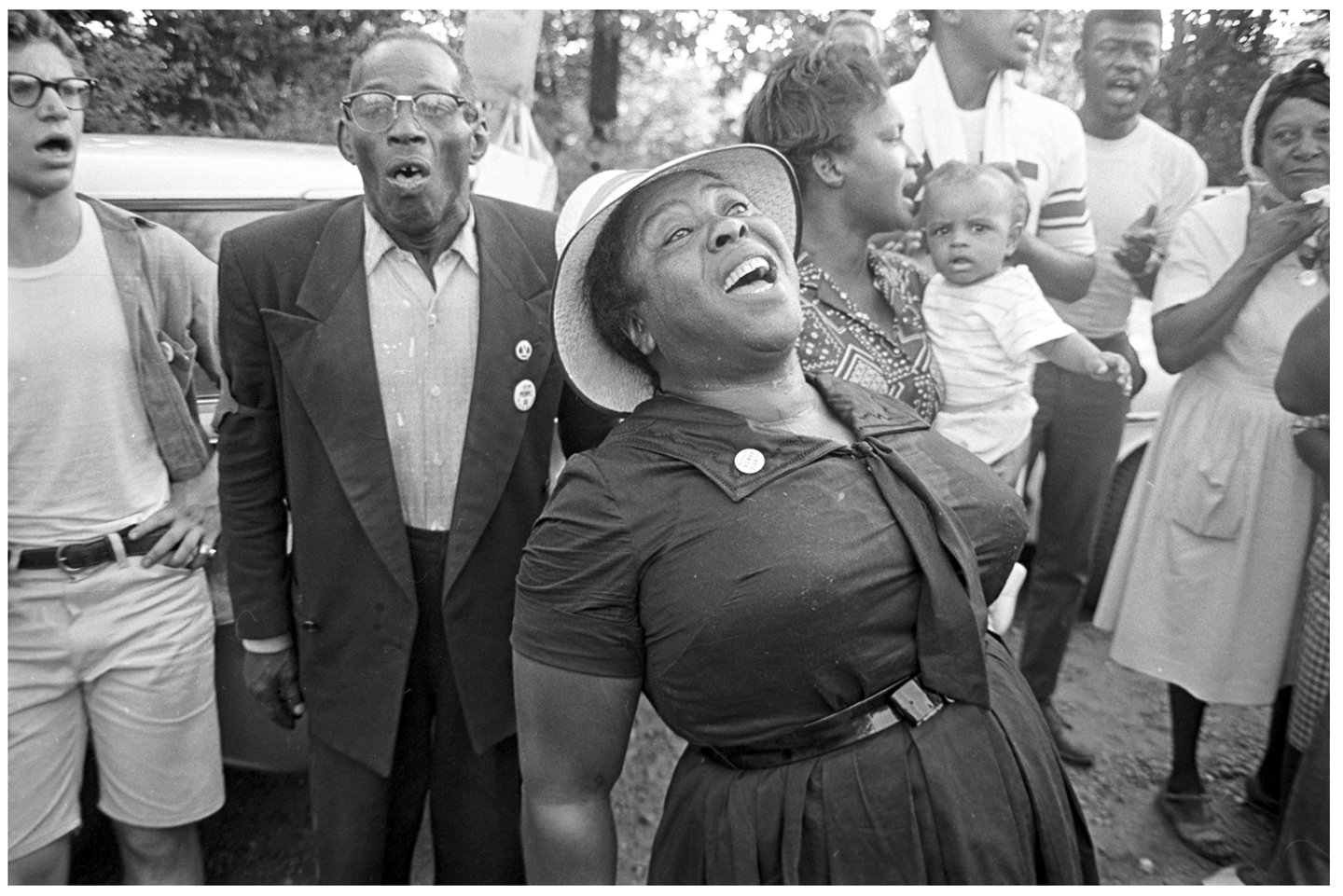 Fannie Lou Hamer inspires tired protestors with her singing during the March Against Fear in June 1966. Photo by Jim Peppler, courtesy Alabama Department of Archives and History