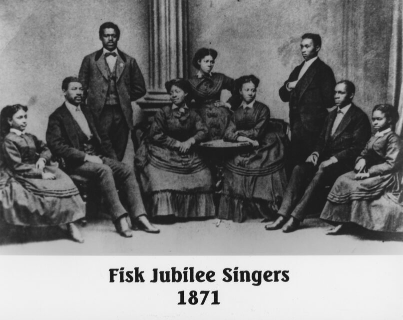 The first Fisk Jubilee Singers in 1871, left to right, Minnie Tate, Greene Evans, Isaac Dickerson, Jennie Jackson, Maggie Porter, Ella Sheppard, Thomas Rutling, Benjamin Holmes and Eliza Walker. (Fisk University, John Hope and Aurelia E. Franklin Library, Special Collections, Photograph Archives)