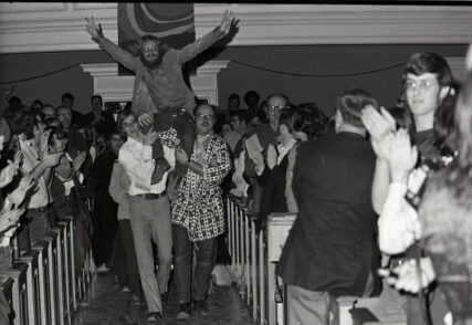 """In 1971, Gettysburg college put on an illegal production of """"Jesus Christ Superstar."""" This month marks the 50th anniversary of the Broadway show's debut. For Gettysburg College's early show, people packed into the building in any way possible, sitting, standing in the back or sitting on window sills. Courtesy of Special Collections/Musselman Library, Gettysburg College"""