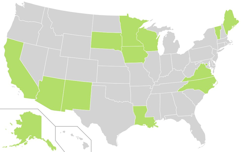 Map of U.S. states, in green, which celebrate Indigenous Peoples' Day (or Native American Day in the case of South Dakota) instead of Columbus Day. Courtesy image