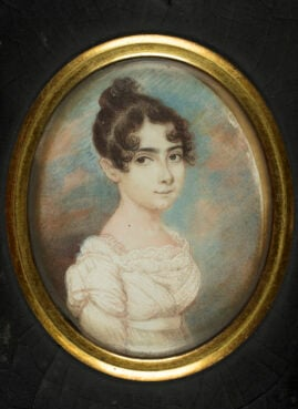 Portrait of Sarah Brandon Moses, ca. 1815–16. Watercolor on ivory. Image ourtesy of American Jewish Historical Society