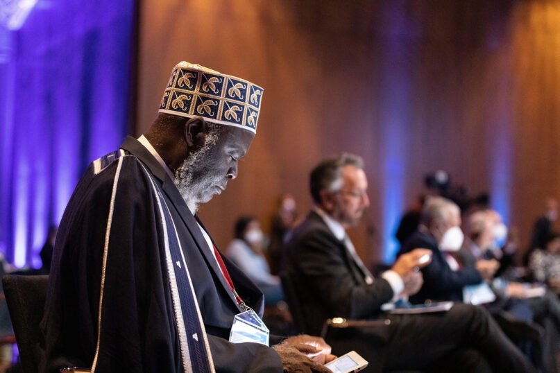 Faith leaders attend the opening ceremony of Religions for Peace Conference of the World Council of Religious Leaders on Faith and Diplomacy, Monday, Oct. 4, 2021, in Lindau, Germany. Photo courtesy of Religions for Peace