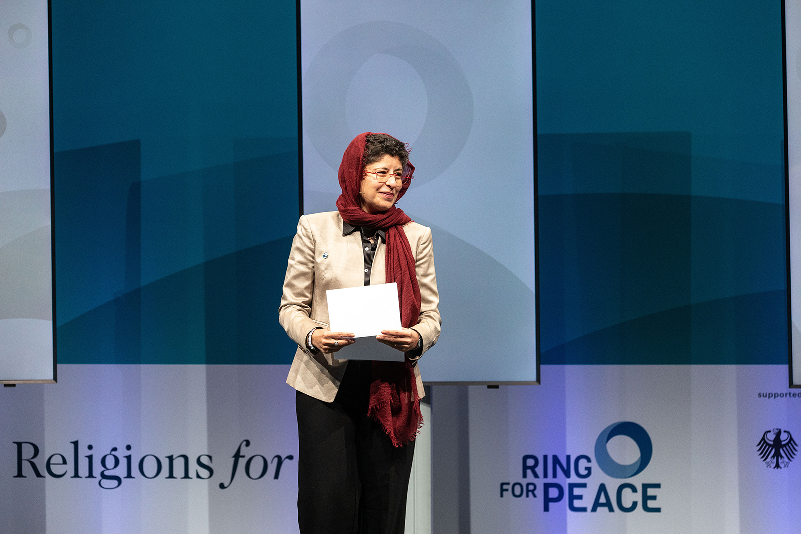 Religions for Peace Secretary-General Azza Karam speaks during the opening ceremony of the Religions for Peace Conference of the World Council of Religious Leaders on Faith and Diplomacy, Monday, Oct. 4, 2021, in Lindau, Germany. Photo courtesy of Religions for Peace