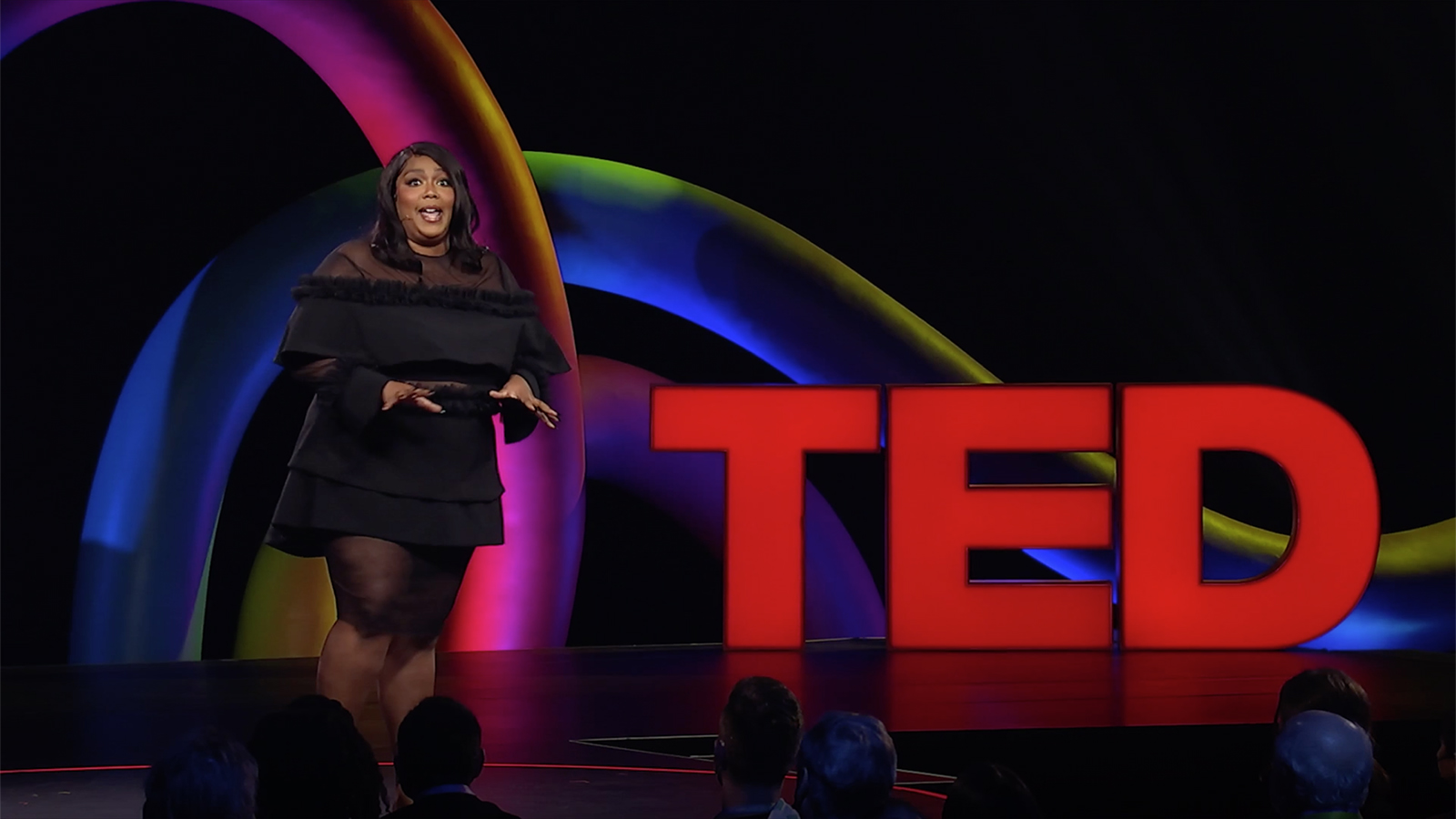 Musician Lizzo gives a recent Ted Talk. Video screengrab