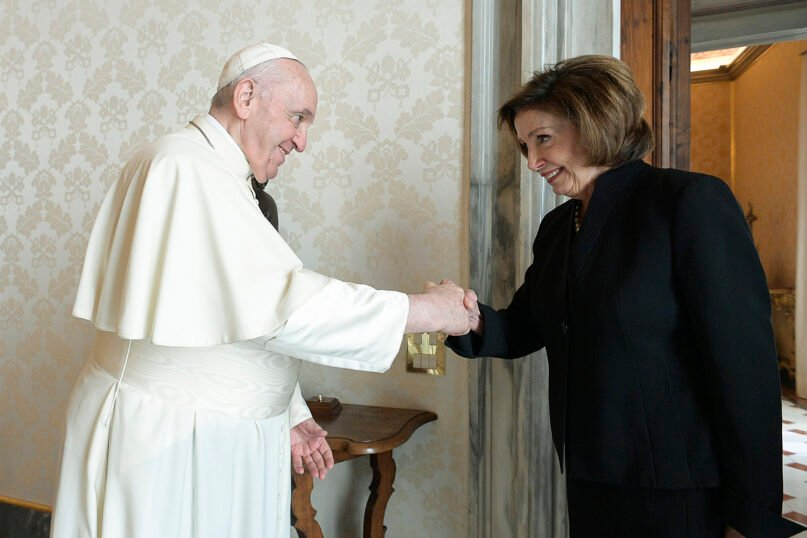 Pope Francis greets U.S. House Speaker Nancy Pelosi, D-Calif., during a private audience at the Vatican Oct. 9, 2021. Photo by Vatican Media