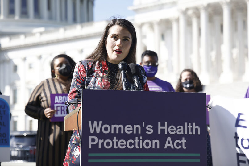 Sheila Katz, CEO, National Council of Jewish Women, urged the U.S. Senate to protect abortion rights at an event outside of the U.S. Capitol Building on September 29, 2021, in Washington, D.C. (Photo by Paul Morigi/Getty Images for MoveOn)