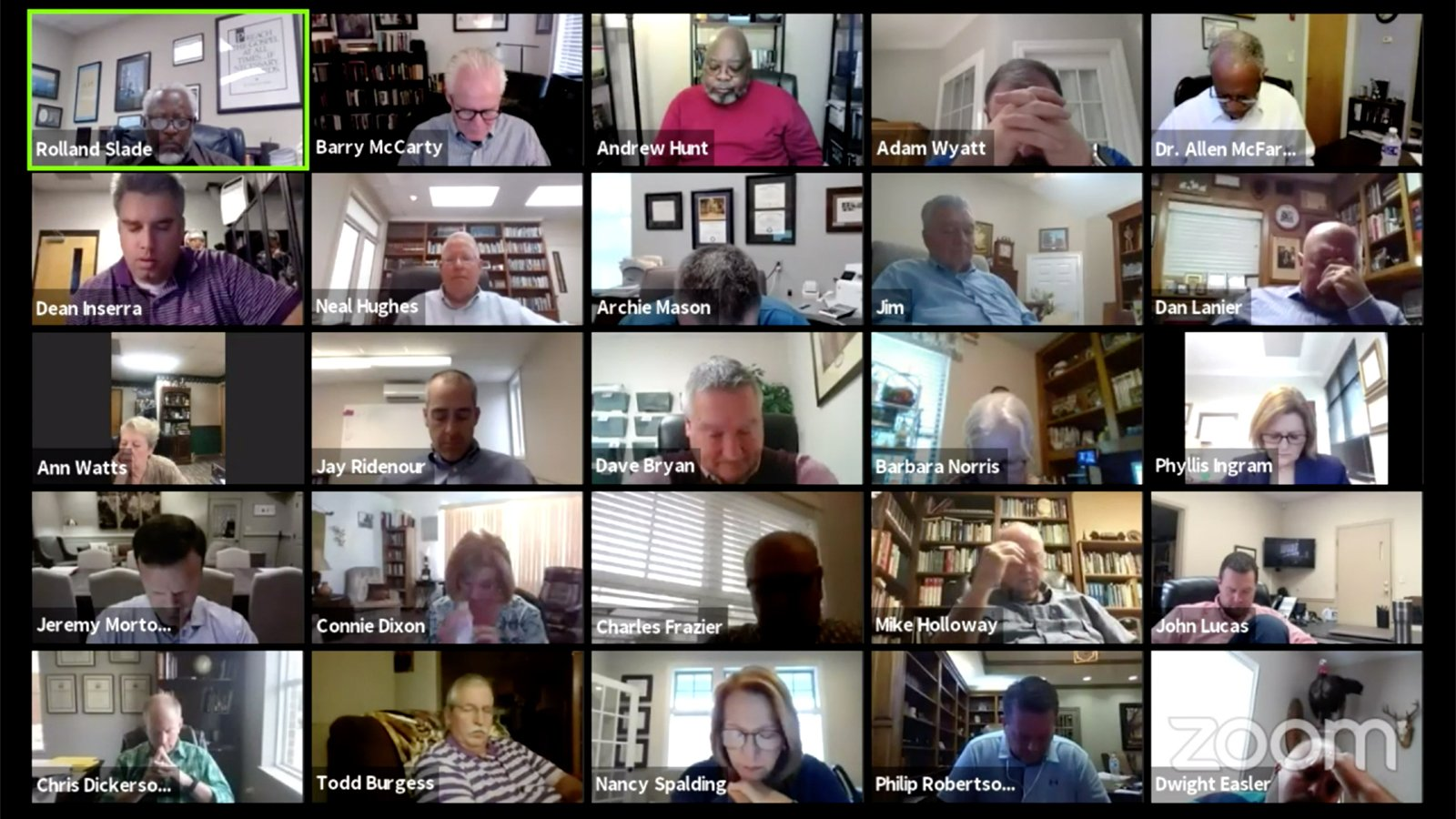 The Rev. Rolland Slade, top left, prays with attendees before a virtual special meeting of the Southern Baptist Convention Executive Committee, Oct. 5, 2021. Video screen grab