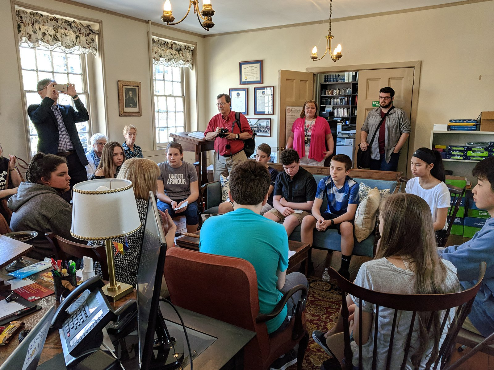 """Teen confirmation students attend a """"Time Traveler"""" program at Historic St. George's United Methodist Church in Philadelphia in 2018. Photo courtesy of HSG"""