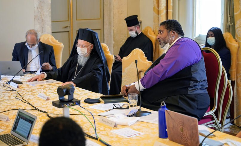 """The Rev. William Barber II, right, participates in a poverty conferency titled """"Caritas, Social Friendship, and the End of Poverty,"""" organized by the Pontifical Academy of Social Sciences, at the Vatican, Monday, Oct. 4, 2021.Photo by Gabriella Clare Marino"""